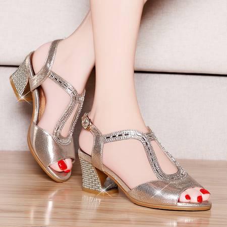 盾狐夏季新款鱼嘴鞋凉鞋粗跟中跟水钻女鞋子镂空罗马鞋时尚女鞋