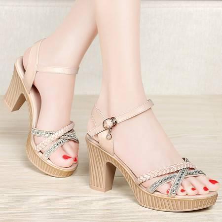 百年纪念夏季露趾高跟凉鞋女粗跟防水台百搭时尚编织水钻女鞋