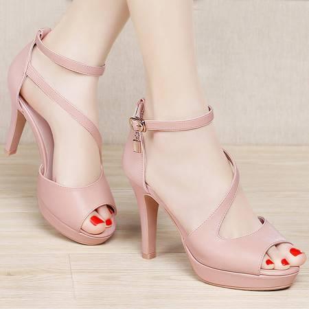 百年纪念夏季时尚鱼嘴鞋细跟高跟鞋女鞋英伦厚底防水台包跟女凉鞋