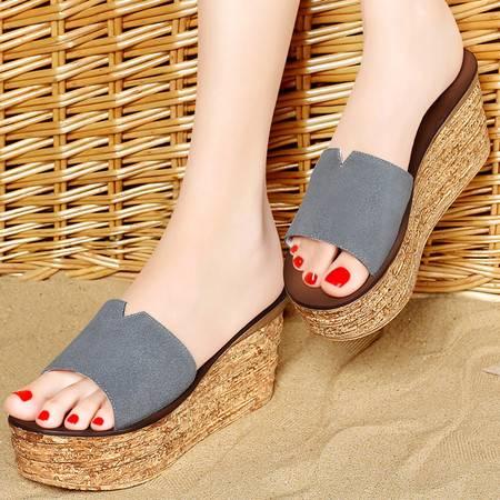 百年纪念夏季反绒牛皮女鞋厚底女拖鞋坡跟防水台套脚休闲女鞋子