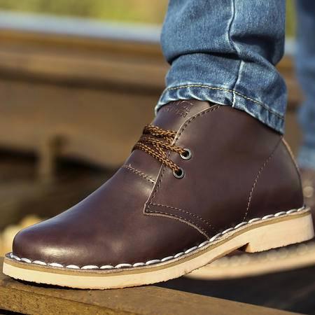 古奇天伦春秋英伦男士马丁靴子真皮潮男靴军靴短靴高帮男鞋工装靴