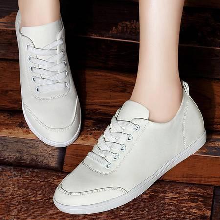 古奇天伦女鞋平底单鞋秋季运动风休闲鞋时尚系带布鞋秋鞋学生板鞋潮小白鞋