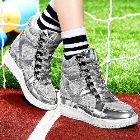 古奇天伦隐形内增高女鞋厚底松糕底单鞋系带高帮运动潮流休闲鞋