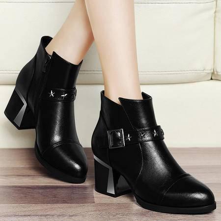 古奇天伦秋季新款马丁靴潮女短靴粗跟中跟单靴英伦铆钉尖头女靴厚底高帮鞋