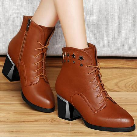 古奇天伦秋季新款马丁靴女短靴粗跟高跟女靴铆钉系带单靴女鞋高帮鞋