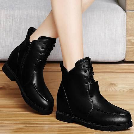 古奇天伦女靴子新款秋冬加绒保暖平底女鞋马丁靴内增高短靴时尚棉靴及踝靴