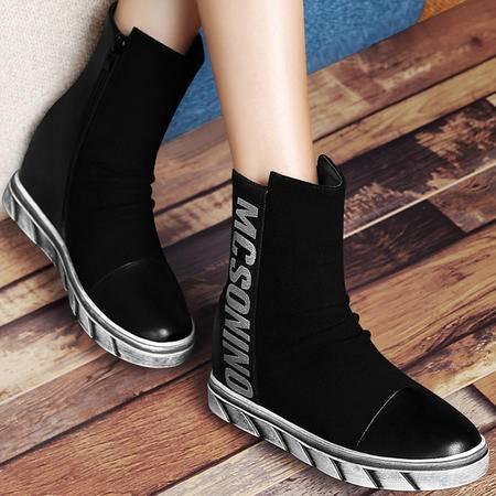 古奇天伦秋季新款平底内增高中筒女靴休闲时尚厚底女鞋弹力布保暖短靴
