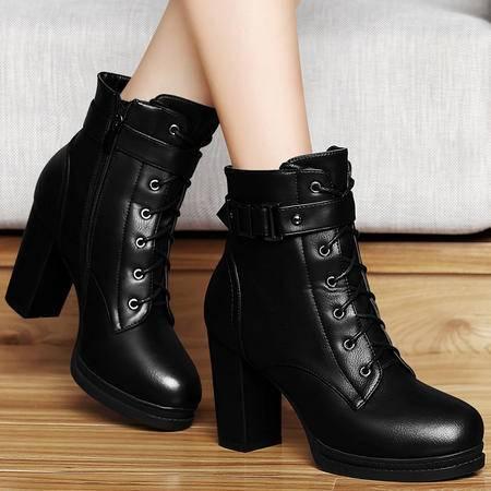 百年纪念秋冬英伦风短筒靴子马丁靴潮女防水台短靴粗跟高跟鞋