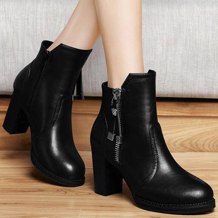 百年纪念秋冬季高跟鞋高帮女鞋粗跟马丁靴防水台短靴英伦短筒靴子