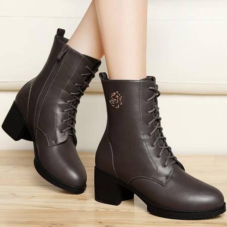 百年纪念秋冬厚底防水台短靴短筒马丁靴粗跟女靴子高跟女鞋高帮鞋
