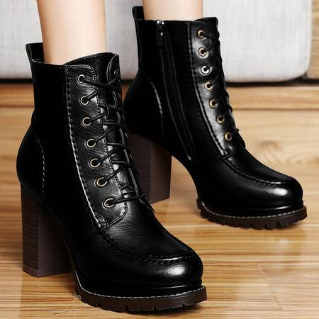 百年纪念秋冬季时尚粗跟马丁靴潮女短靴保暖短筒靴防水台高跟靴子女鞋