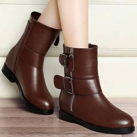 百年纪念秋季英伦风马丁靴内增高短靴女靴子厚底短筒靴子