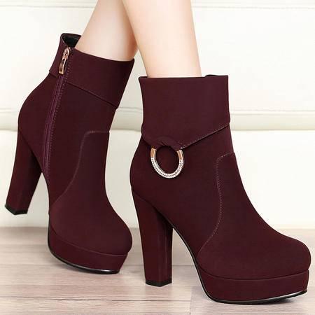 百年纪念秋季时尚水钻马丁靴粗跟高跟短靴厚底防水台短筒单靴女靴子