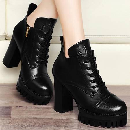 百年纪念秋冬英伦高帮短筒靴子粗跟马丁靴潮女厚底防水台短靴高跟鞋