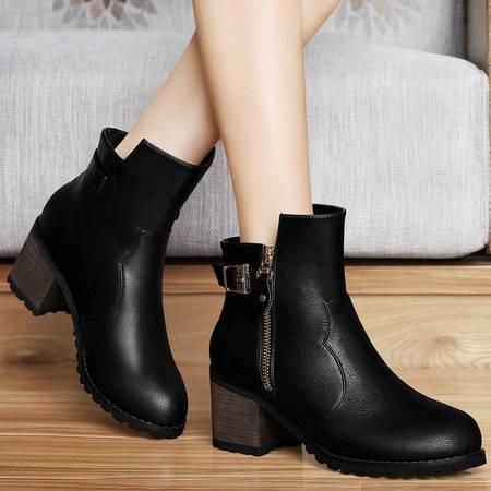 百年纪念秋季时尚女靴单靴马丁靴女短靴短筒粗跟高跟裸靴及踝靴