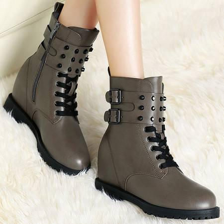 百年纪念秋冬季休闲短靴内增高平跟马丁靴女单靴潮女靴子铆钉短筒女鞋