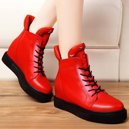 莫蕾蔻蕾秋冬靴子短靴内增高马丁靴女平底休闲短筒加绒保暖女靴子