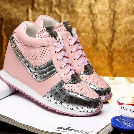 莫蕾蔻蕾秋季时尚厚底内增高单鞋女松糕鞋平底休闲鞋运动鞋女鞋