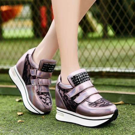 莫蕾蔻蕾秋季运动鞋时尚休闲鞋单鞋女内增高厚底气垫鞋魔术贴女鞋