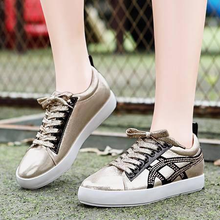 莫蕾蔻蕾秋季新款韩版休闲鞋板鞋厚底平底鞋水钻潮流女鞋单鞋