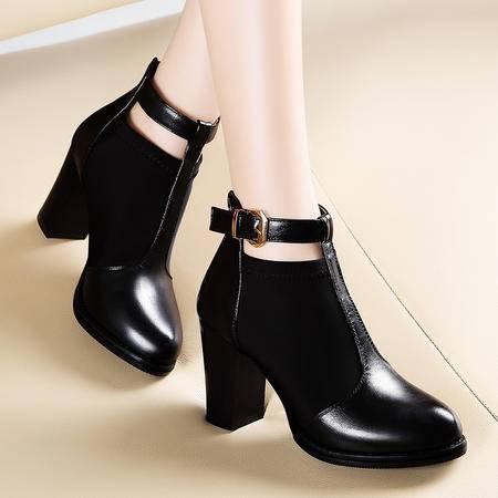 莫蕾蔻蕾秋冬新款短筒马丁靴欧美皮带扣靴子粗跟短靴女高跟鞋