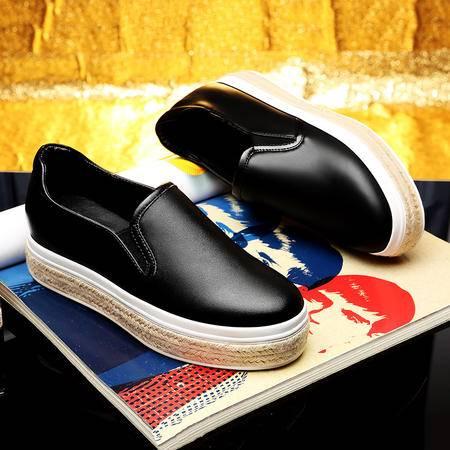 莫蕾蔻蕾秋新款内增高女鞋厚底平底休闲鞋单鞋套脚女鞋乐福懒人鞋