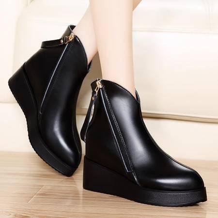 莫蕾蔻蕾秋女靴子尖头松糕鞋厚底内增高短靴女真皮英伦马丁靴休闲女鞋