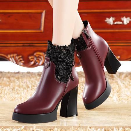 莫蕾蔻蕾秋冬时尚高跟女靴子粗跟短筒马丁靴防水台蕾丝保暖女鞋
