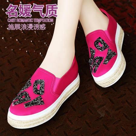 莫蕾蔻蕾春秋乐福鞋松糕底秋鞋女厚底休闲平跟女鞋潮套脚学生单鞋