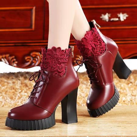 莫蕾蔻蕾秋冬女靴真皮粗跟高跟靴中筒靴子马丁靴女蕾丝加绒保暖靴子