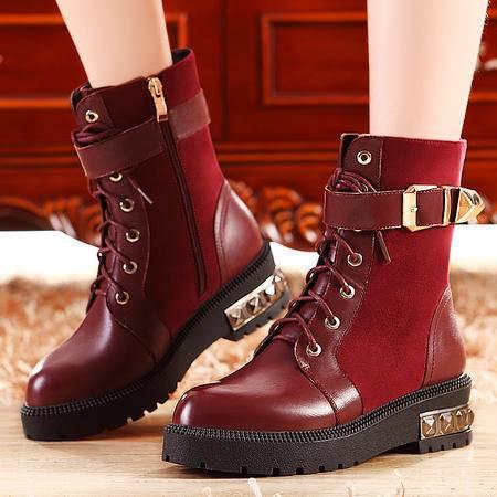 莫蕾蔻蕾秋冬厚底平底马丁靴加绒保暖女鞋短筒时尚皮带扣女靴子