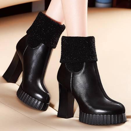 莫蕾蔻蕾秋冬两穿真皮加绒保暖女靴子粗跟高跟女鞋短靴中筒靴