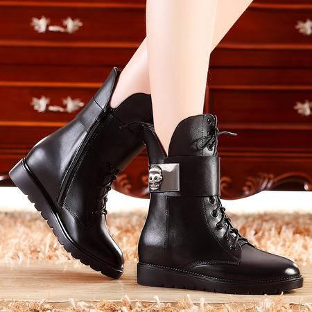 莫蕾蔻蕾秋冬新款真皮短靴中筒靴平底女靴厚底马丁靴欧美女鞋