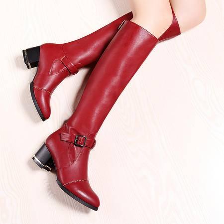 莫蕾蔻蕾秋冬尖头高跟长靴女粗跟高筒靴子休闲皮带扣女靴套筒裸靴