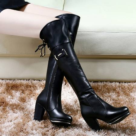 古奇天伦秋冬防水台女鞋过膝长靴马丁靴女靴子加绒保暖长筒靴