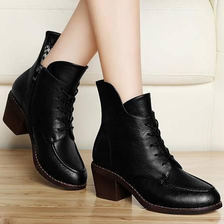 百年纪念秋冬新款女靴高跟短靴粗跟马丁靴裸靴系带欧美潮加绒女鞋