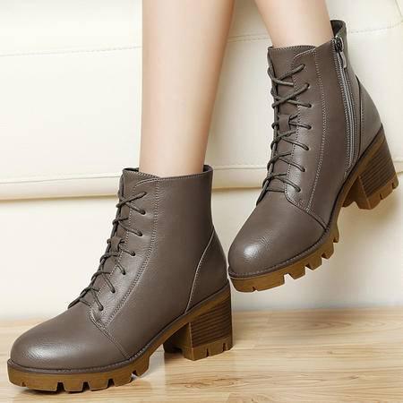 百年纪念秋冬新款女鞋粗跟高跟马丁靴侧拉链及裸靴圆头厚底防水台女短靴