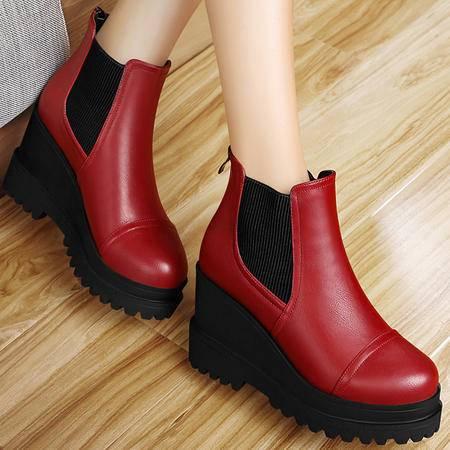 百年纪念秋冬坡跟厚底马丁靴潮女短靴防水台高跟短筒女靴及踝靴女鞋