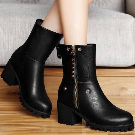 百年纪念高跟女靴秋冬短靴粗跟马丁靴中筒靴两穿短筒靴英伦风女鞋