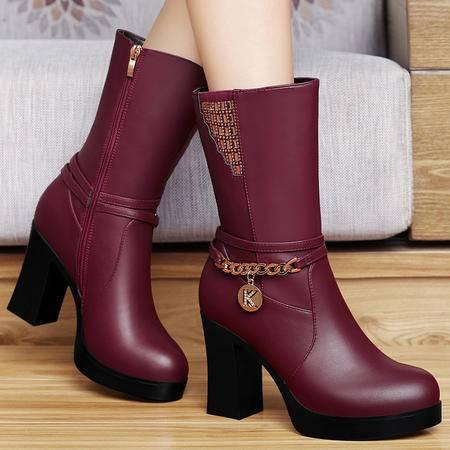 百年纪念秋冬女鞋加绒保暖女靴子高跟粗跟中筒靴圆头水钻防水台靴子