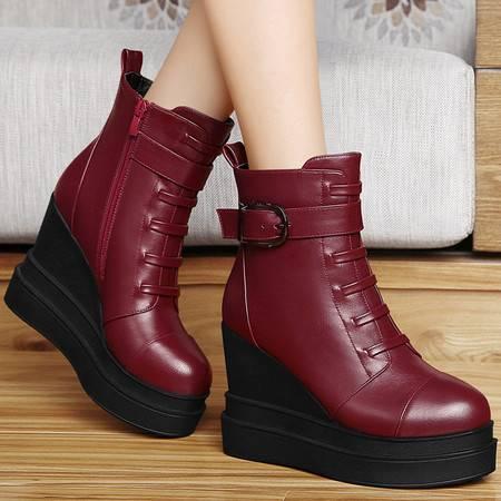 百年纪念秋冬新款马丁靴坡跟女靴平底短靴加绒保暖短筒欧美厚底女鞋