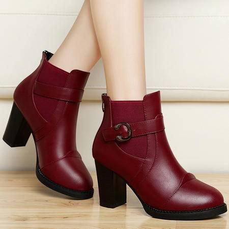 百年纪念高跟女靴子秋冬粗跟短靴马丁靴圆头英伦风女鞋子加绒靴子