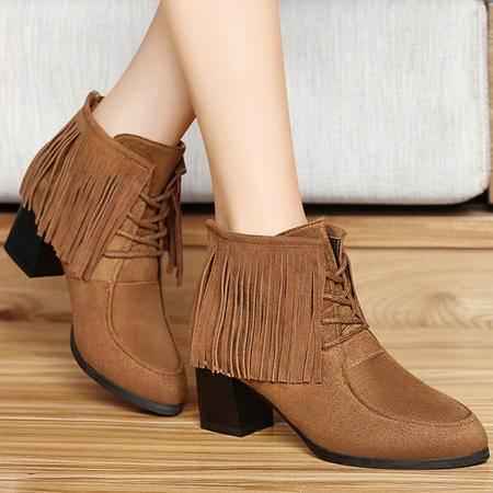 古奇天伦女鞋秋季新品圆头真皮流苏短靴女防水台粗跟高跟女靴时尚及踝靴