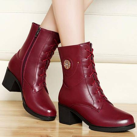 古奇天伦高跟女鞋秋冬新品英伦圆头防水台马丁靴时尚潮流粗跟短筒女靴