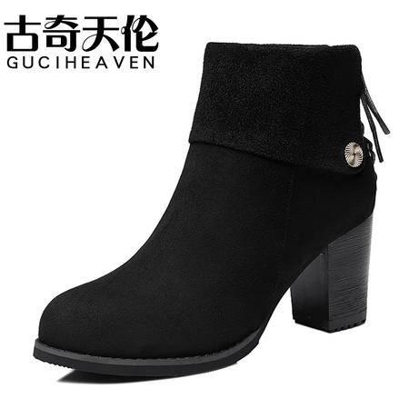 古奇天伦秋冬新款加绒保暖马丁靴潮女短靴高跟及裸靴粗跟女靴优雅女鞋