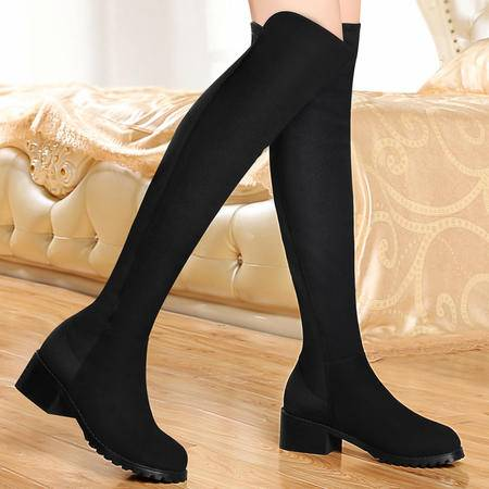 百年纪念秋冬新款女靴显瘦过膝长靴欧美粗跟骑士靴加绒保暖弹力女鞋
