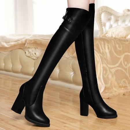 百年纪念秋冬新款弹力瘦腿过膝长靴高跟女靴粗跟防水台骑士靴潮女鞋