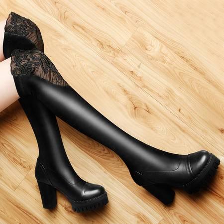 百年纪念秋冬新款性感蕾丝女鞋粗跟长靴高跟弹力瘦腿过膝靴骑士靴