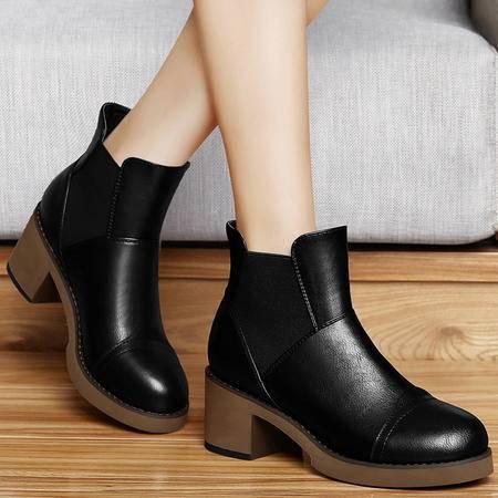 古奇天伦高帮女鞋秋季上新防水台女靴时尚粗跟马丁靴圆头高跟鞋套脚短靴