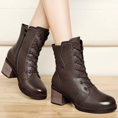 古奇天伦秋冬系带马丁靴潮女时尚加绒保暖短筒靴圆头粗跟高跟女靴子